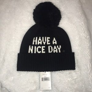 kate spade have a nice day hat with Pom Pom NWT